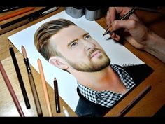 Drawing Justin Timberlake - Colored Pencil Time-lapse Sketch by Heather Rooney on YouTube
