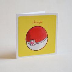 Geeky Romance Card, Pokemon Pokeball Design, sweet nerdy valentine proposal anime video game cards