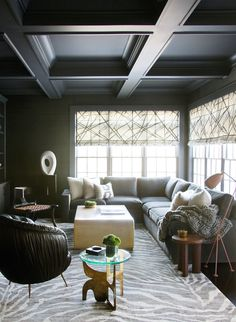 Living Room featuring Kelly Wearstler Channels Roman Shades in Ebony/Ivory. Comes in 4 Colors. (Nikki Rosenthal Design), $650.00 (http://store.lynnchalk.com/kelly-wearstler-channels-custom-roman-shades-shown-in-ebony-ivory-comes-in-4-colors/)