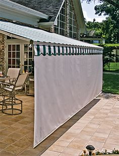 Covered patio pergola retractable awning 24 ideas for 2019 Outdoor Decor, Retractable Awning, Deck Awnings, Outdoor Living, Screened In Patio, Pergola Plans, Patio Doors