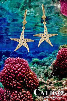 Diamond Starfish Earrings - Starfish Jewelry by Caligo Design - Nature Inspired Jewelry - #starfishEarrings #starfishJewelry #diamondStarfishEarrings #seaStarEarrings #asteroideaJewelry #seaLifeJewelry #oceanLifeEarrings #oceanJewelry #seaLifeEarrings #beachMemories #natureInspiredJewelry #14KgoldStarfish #diamondStarfishEarrings #beachEarrings #beachCombing #beachFashion Ocean Jewelry, Nautical Jewelry, Beach Jewelry, Star Earrings, Pendant Earrings, Diamond Jewelry, Gold Jewelry, Starfish Earrings, Nature Inspired