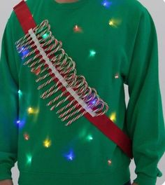 Your place to buy and sell all things handmade Candy Cane Ammo Light up Ugly Sweater LED by SilverSpoonLifestyle Naughty Christmas, Christmas Fun, Nightmare Before Christmas, Diy Ugly Christmas Sweater, Diy Christmas Sweaters, Ugly Sweaters Diy, Tacky Christmas Outfit, Kids Ugly Sweater, Tacky Sweater