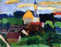 Gabrielle Münter was a German expressionist painter who was at the… August Macke, Franz Marc, Wassily Kandinsky, Cavalier Bleu, Female Art, Art Images, Painting & Drawing, Landscape Paintings, Drawings