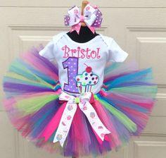 Girls Personalized Neon Cupcake Birthday Tutu Outfit