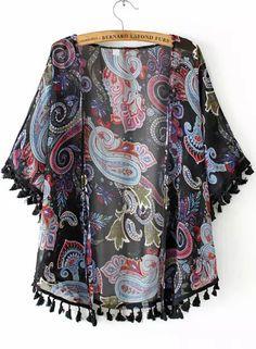 Black Short Sleeve Tassel Cashew Print Chiffon Kimono 12.33