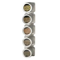 Crofton Silver Magnetic Wall Storage Rack w/Clear Tops, Spice Labels &Screws