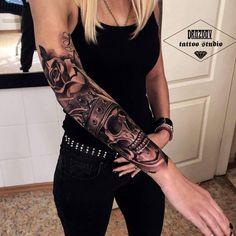 Black and white half sleeve ;Women Tattoo