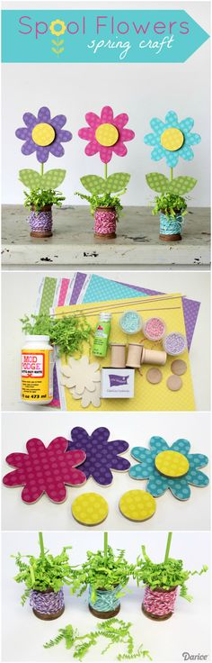 Add some fun pops of color to your home with this wooden spool flower spring craft!