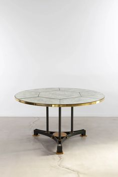 Maison Leleu Jules & André Circular Dining/Center Table , 1960 Leleu Model Number: 4939 Original gunmetal patina bronze and steel base rests on three elegant gild bronze feet. Diamond pattern original aged mirror top most likely executed by Max Ingrand studio Height: 28.1 in. (71.5 cm) Diameter: 51.7 in. (131.5... Center Table, Diamond Pattern, Dining Table, Bronze, Base, Number, Steel, The Originals, Mirror
