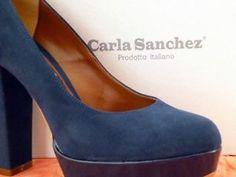 Scarpe-donna-decolte-Carla-Sanchez-n-38-tacco-12cm-colore-blu-scuro-Italiane 7520faa15c4