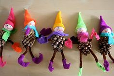 DIY pinecone elf ornaments. This would be a fun FHE to do as a family. We could make an army of elves for our tree.