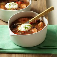 Smoky Black Bean Soup With Chicken Sausage
