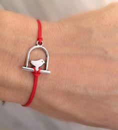 Silver bird bracelet, red rope bracelet, wish bracelet