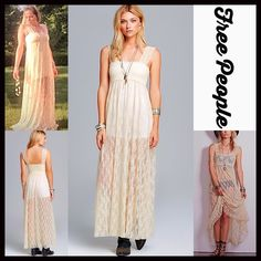 """FREE PEOPLE DRESS Sheer Slip Maxi RETAIL PRICE: $88 ***Model photos of aprils2ndcloset model Jessica & from WWW.Lyst.com NEW WITH TAGS  ***Available in Black or Ivory FREE PEOPLE Lace Slip Maxi Dress   * Beautiful semi-sheer stretch-to-fit embellished eyelet crochet floral lace   * Square neck & tank straps   * Pullover style  * A-line & relaxed fit  * Approx 51""""L  Fabric: Nylon & spandex   Color:Tea (Ivory)  # Pastel No Trades ✅ Offers Considered*✅ *Please use the blue 'offer' button to…"""