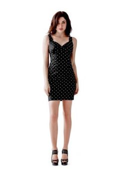 Ava Sleeveless Polka-Dot Dress | GUESS.com