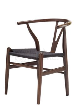 Replica Hans Wegner Wishbone Chair Dark Walnut with Black Cord Seat -- The Wishbone Chair was designed in 1949 by Denmark's foremost furniture designer Hans Wegner.  The Wishbone Chair was originally inspired by classical portraits of Danish merchants sitting on Chinese Ming chairs.  The Wishbone Chair is also known as the CH24 Y Chair, and is widely used as a dining or occasional chair in both period and modern contemporary interiors.  With its generous size, lightweight structure and…