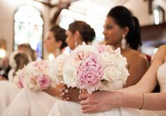 Simple and elegant pink and white bridesmaid bouquets