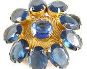Happy Birthday December!  Blue Topaz and Blue Zircon Birthstones  Vintage Juliana Gold Tone Blue Topaz Rhinestone Flower Brooch