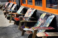 Chairs made of colorful skateboard