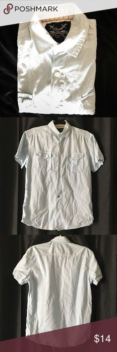 """Drill NYC short sleeve button down shirt medium Pit to pit 21"""" Sleeve 7.5"""" Shoulder 17"""" Length 28""""  Tags Drill NYC Shirts Casual Button Down Shirts"""