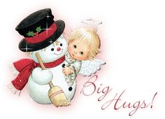 Christmas Angel with Snowman by Ruth Morehead
