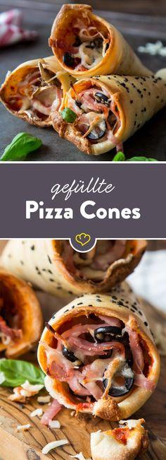 Gefüllte Pizza Cones