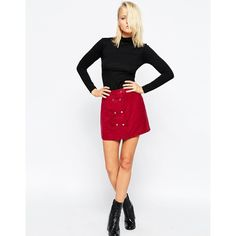 Neon Rose Sangria Suedette Skirt With Button Front (43 LYD) ❤ liked on Polyvore featuring skirts, sangria, rosette skirt, high waisted knee length skirt, white skirt, high rise skirts and high-waisted skirts