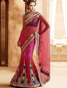 Orange red net half and half designer wedding wear lehenga saree Product Code: G3-WSA4076 Price: ₹ 8,195.00