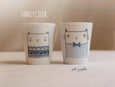 """Duo Tasses à café/expresso """"Family Color"""" ours et chat"""