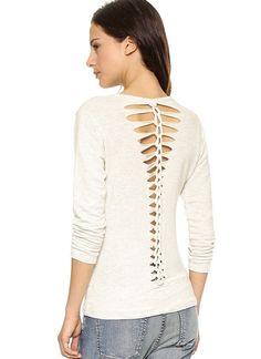 White Long sleeve hollow slim blouse