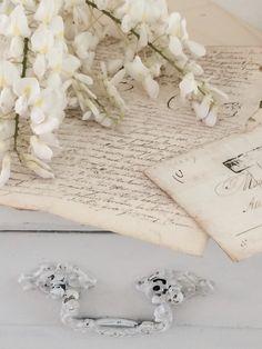 White wisteria and antique French manuscript
