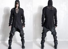 Post-apocalypse clothing / fashion / post-apocalyptic wear / male / dystopian / menswear / men's / apocalyptic style / apocalypse looks / all-black / hoodie