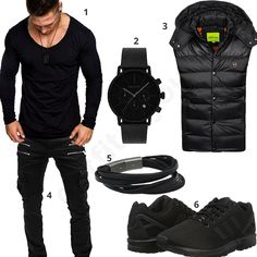 Schwarzes Herren-Outfit mit Cargo-Pants (m0560) #outfit #style #fashion #ootd #männer #herren #outfit2017 #outfit #style #fashion #menswear #mensfashion #inspiration #shirt #cloth #clothing #styling #sneaker #menstyle #inspiration