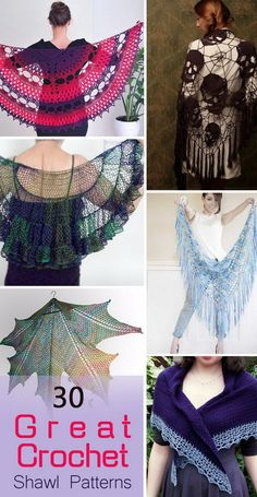 Great Crochet Shawl Patterns. Looking for a crochet pattern? Here are 30 suggestions. Some of them are really easy to make with stunning results! From lacy wrap to prayer shawl......