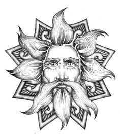 "This is Dajbog / Dažbog / Dabog, ancient slavic god of sun, who rides his fiery chariots across the sky every day. His name means ""god giver"" and stands for ""giver of life"", which no scientists would deny, sun really is giver of life. One of his manifestations was in shape of wolf. When christians came to slavic lands, they used his wolf shape to demonize him, and made him into devil (lucifer means bringer of light, therefore god of sun). To christians, giver of life is evil. Explains a lot."