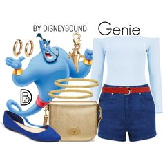 Genie by leslieakay on Polyvore featuring Boohoo, Miss Selfridge, Forever 21, Mulberry, Everlasting Gold, Disney, Orciani, disney, disneybound and disneycharacter