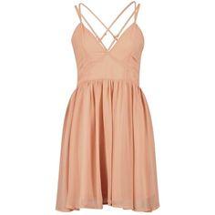 Debbie Metallic Chiffon Strappy Back Skater Dress ($16) ❤ liked on Polyvore featuring dresses, pink, short dresses, vestidos, metallic cocktail dress, mini dress, chiffon dresses, pink dress and red mini dress