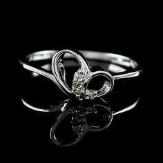 Diamond Heart Shape 925 Sterling Silver Promise Ring Size 7 #Affinityhomeshopping #PromiseRing