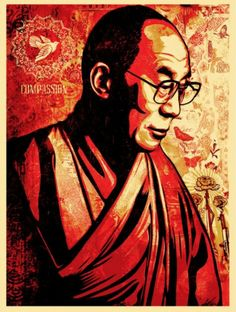 Compassion (His Holiness the Dalai Lama.  Shepard Fairey OBEY Giant.