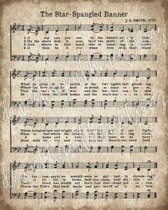 Song Sheet, Piano Sheet Music, Music Sheets, Piano Songs, Free Printable Sheet Music, Printable Vintage, Star Spangled Banner Song, Banners Music, Christmas Songs Lyrics