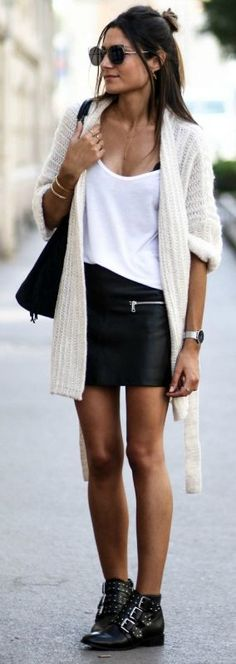 chunky knit cardigan + gorgeous cream number + super cute + tank top + leather mini skirt + studded ankle boots + Federica L. + autumnal masterpiece +   Cardigan: Etam + Boots: Asos + Skirt: Zara.