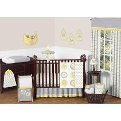 Sweet JoJo Designs 11pc Mod Garden Crib Bedding Set - Grey, White, Yellow
