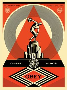 "Shepard Fairey Classical:   Of or relating to ancient Greek or Latin literature, art, or culture. This print is a play on my love of music, drawing a comparison between the notions of ""classical"" art, architecture, and music, and ""classic"" music… rock, punk, hip-hop etc…  I find it funny that  things that are considered ""classic"" now were once new and possibly controversial. I like to put my favorite musical trailblazers on a pedestal ..."
