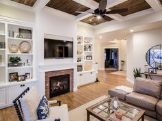Plan - The ceiling style in this great room is truly spectacular! House Plans And More, Luxury House Plans, Fireplace With Cabinets, Dream Home Design, House Design, Perfect Live, Best Architects, House Goals, Home Decor Furniture