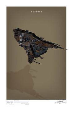 The Minmatar Cruiser Rupture from Eve Online illustrated by Bryan Ward. Eve Online Ships, Robot Art, Robots, Spaceship Design, Found Object Art, Sci Fi Characters, Concept Art, Concept Ships, Space Travel