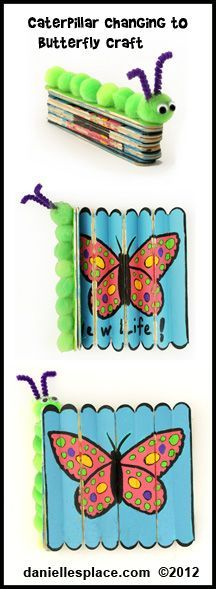 like the idea but wondering  if I can think of a way for caterpillar to be the body with wings on each side -  Caterpillar turning into a Butterfly Craft Kids Can Make from www.daniellesplace.com