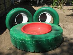 Creative and Cool Ways to Reuse Old Tires 19 by laura bee Kids Outdoor Play, Kids Play Area, Outdoor Fun, Children Play, Tire Playground, Playground Ideas, Tire Craft, Reuse Old Tires, Recycled Tires