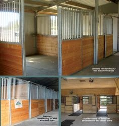 Horse Stalls: Standard Horse Stalls. Triton horse stall are available free standing or customized.