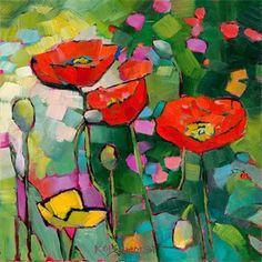 Poppies Galore by Karen Mathison Schmidt - I would love a stained glass window of this piece