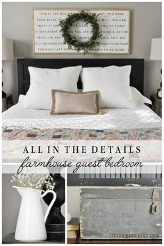 All the details on our cute farmhouse styled guest bedroom! via littleglassjar.com